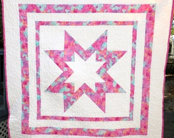 Beautiful Handmade Star Baby Girl Quilt, Handmade Baby Girl Quilt, Handmade Baby Star Quilt, Pink Baby Girl Quilt