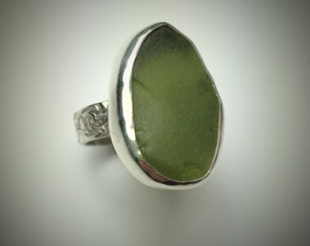 Sterling silver and olive green Maine sea glass ring