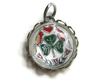 vintage Sterling Silver Domed Charm Green Clover Red Birds Pendant Jewelry