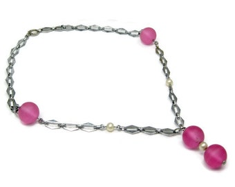 Necklace Art Deco Pink Glass Faux Pearl