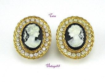 Vintage Earrings Cameo Rhinestone clip On Tara