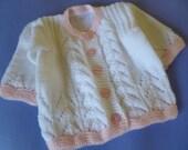 Hand Knitted Vegan Newborn Sweater. Vegan Baby Girl Sweater
