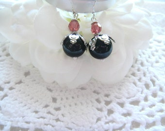 Swarovski Black Onyx and Padparadscha Crystal Earrings