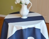 Round Tablecloth - Navy Blue White Cabana Wide Stripes  -  Home, Wedding, Banquet, Party, Holiday - Rugby Stripes - You choose SIZE