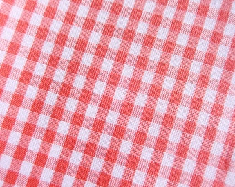 Japanese Fabric - Gingham Fabric in Red Orange - Cotton Fabric - Half Yard
