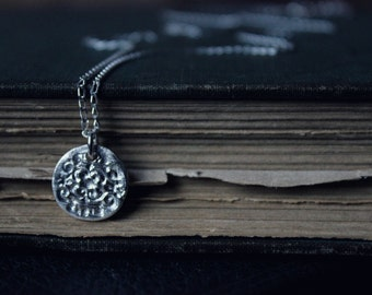 The Rosenoble Pendant Necklace. Hand Forged Rustic Fine Silver Medallion Pendant and Sterling Silver Necklace.