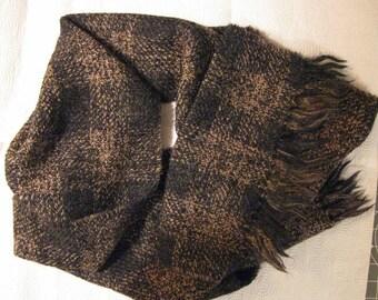 Vintage 100% Lambswool Handloomed Brown Plaid Scarf - Made in Uruguay