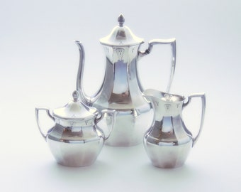 Highbrow Art Deco Coffee Service, 1930s Deauville by Community Plate: Silver Plate Hollowware, Gatsby Style
