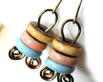 SALE Ceramic and Brass Earrings, Elaine Ray Ceramic Washers and Coiled Antiqued Brass, Rustic Earrings, Boho Fashion
