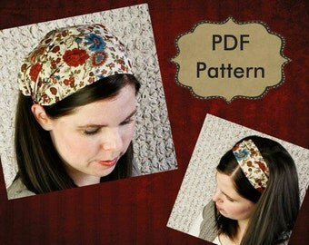 ADULT Headband Sewing Pattern Tutorial - Headcovering Pattern - PDF E-Book - 2 Adult Sizes - Women Bandana Pattern - Sewing Tutorial