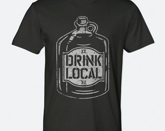 Drink Local Screenprinted Tee - Unisex American Apparel Black T-Shirt