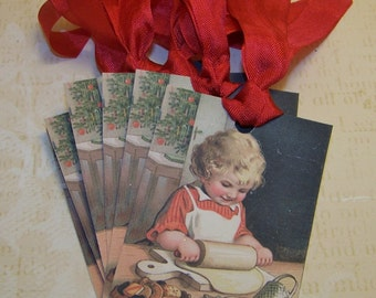 Holiday Baking Tags Christmas Baking Tags Baked Good Gift Tags Treat Tags Vintage Style Set of 6 or 9