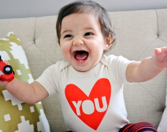 Valentine Heart, Love You, organic cotton baby bodysuit- Gender Neutral Valentine's baby gift
