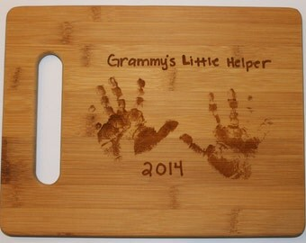 Helping Hands Scan & Love Notes for Mom + Grandma for Mother's Day - Bamboo Cutting Board with Laser Engraved - Personalized  11 x 8.5