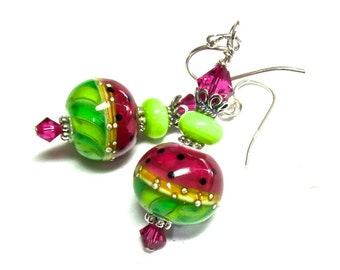 Watermelon Earrings, Lampwork Earrings, Glass Earrings, Artisan Earrings, Handmade Earrings, Pink Earrings, Green Earrings, Silver Earrings