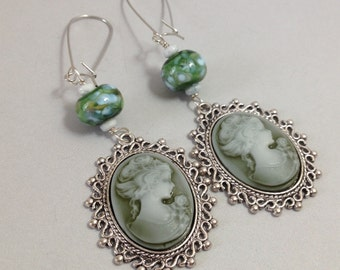 Green Cameo Earrings with Handmade Lampwork Glass on Silver (E-518)