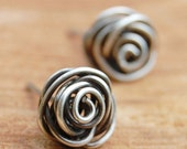 Rose Bud Posts, Wire Knot, Oxidized, Sterling Silver, Wire, Wire Jewelry