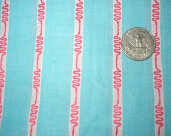 4 5/8 yards 37 wide 50s blue and red striped cotton dressmaking fabric