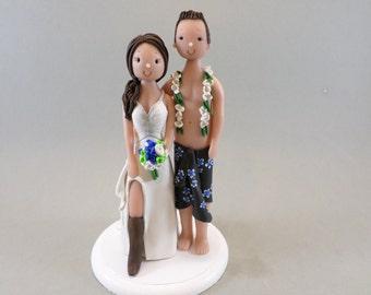 Bride & Groom Custom Made Outdoor/ Beach Theme Wedding Cake Topper