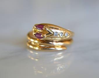 ANTIQUE SNAKE RUBY white sapphire 14k gold Victorian era vintage ring circa 1880 size 4