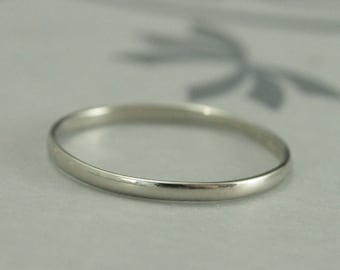 10K White Gold Wedding Band--1.5mm Skinny Minnie Plain Jane Half Round Band--Women's Wedding Band--Hand Made Wedding Ring in Recycled Gold