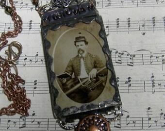 Soldered Glass Assemblage Necklace - Vintage Music Man - Civil War Era Reenactor Necklace