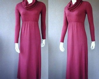 Organic cotton cowl dress, winter dress, organic cotton dress, maxi dress, red dress with cowl, sweater dress