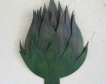 Metal Art Wall Artichoke Vegetable sculpture kitchen decor - Artichoke - upcycled metal wall art veggy art