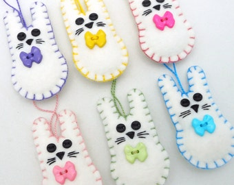 """6 """"Chubby Bunny"""" Wool Felt  Easter Rabbit Ornaments - 3"""""""
