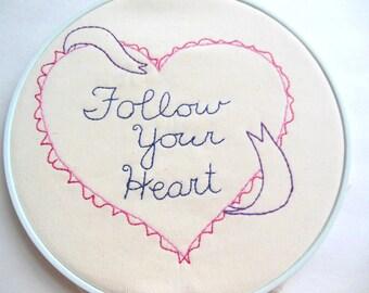 Follow Your Heart  PDF Stitchery Pattern Heart Ribbon Valentines