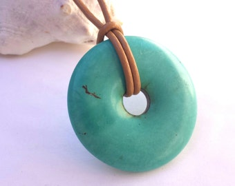 Leather necklace, turquoise necklace, turquoise howlite donut pendant, turquoise jewelry, brown leather jewelry, turquoise blue