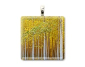 "Golden Tree Pendant ""Gilded Forest"" Photo Pendant, Tree Photo, Tree Art Pendant, Forest Picture, Yellow Tree Jewelry, Glass Tile Pendant"