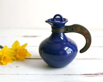 Vintage Mid Century Modern Cobalt Blue Franciscan / Gladding McBean El Patio Small Ceramic Carafe with Wood Handle