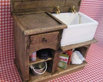 Dollhouse Kitchen sink, sink, dark oak,filled sink, country, twelfth scale, dollhouse miniature