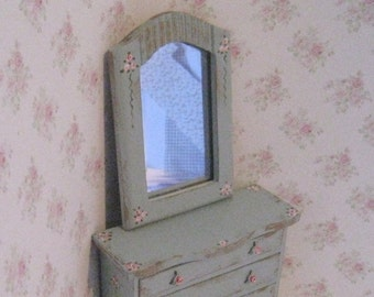 Dollhouse Chest of drawers , mirror, mirrored chest,  tatty chic,duck egg blue, rosebuds, twelfth scale dollhouse miniature