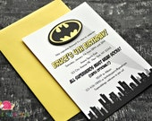 Batman Invitations · A6 FLAT · Birthday Party | Superhero Party | Baby Shower | Comic Books