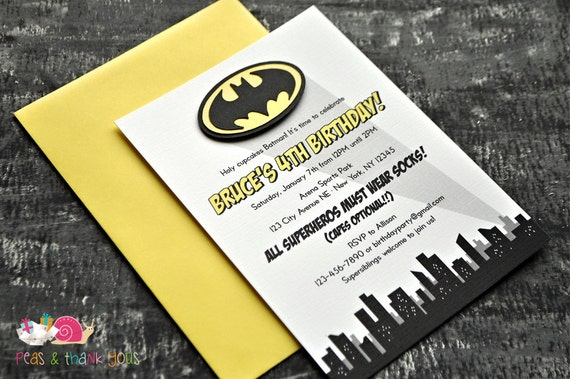 Batman Invitations A6 FLAT Birthday Party Superhero Party