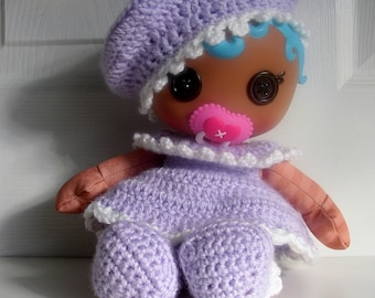 Lalaloopsy Babies Handmade four piece Layette Set with Beret, Dress, Panties and Booties in white and lilac