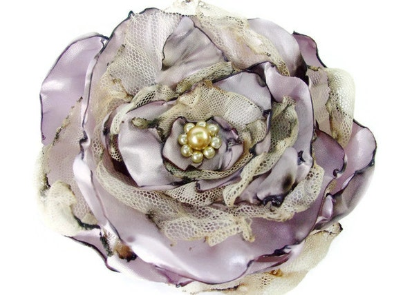 Lavender Flower Accessory Wedding Hair Flower Bridal Flowers Bridal Couture Flower Hair Accessories maternity sash flower girl shabby chic