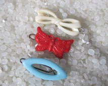 Vintage barrettes, sweet children barrettes,red butterfly, white bow,and blue oval