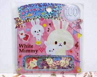 Kamio Japan Sticker Flakes - White Rabbits - 61 Pieces (46052)