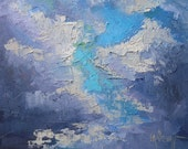 "Sky Painting, Cloud Painting, Daily Painting, Small Oil Painting, ""A Touch of Blue"" by Carol Schiff, 6x8 Landscape"