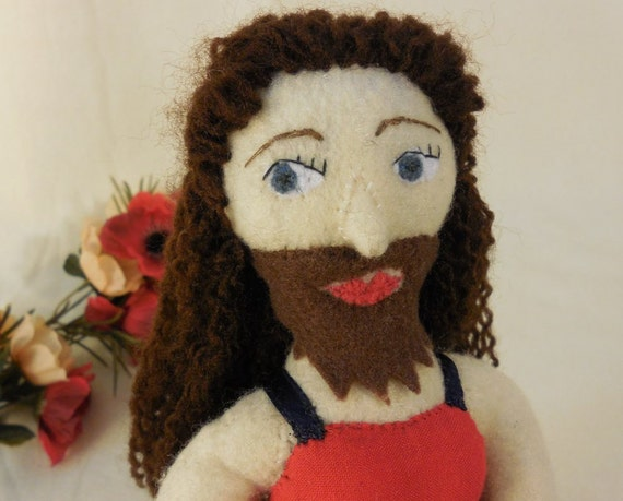 Bearded Lady, sideshow freak doll, small