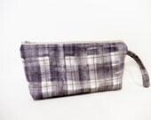 Mauve Plaid Wristlet, Mini Purse, Handbag, Cell Phone Wallet, Fabric Wristlet, Plaid Bag, Plaid Clutch, Nano Irie Fabric Clutch, Mauve Bag