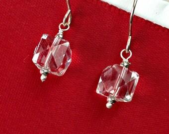 Cube Earrings, Clear Quartz Dangle Earring, Geometric Earring, Wire Wrap, Handmade Sterling Silver Gemstone, Minimalist Jewelry