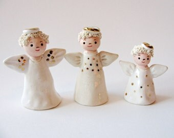 Three Little Angels Stoneware Clay Sculptures