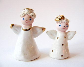 Two Little Angels Stoneware Clay Sculptures