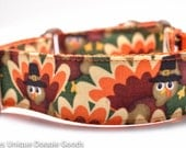 Thanksgiving Dog Collar/Turkeys/Orange/Fall/Holiday Dog Collar