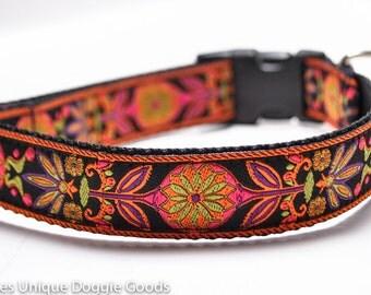 Custom Dog Collar/ Marigold in Purple / Flower Dog Collar/ Orange/ Purple