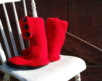 Mukluk style ugg inspired slipper boot hand knit bright red